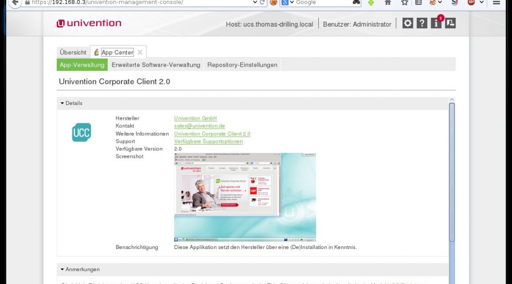 Univention Corporate Client via UCS-App-Center installieren